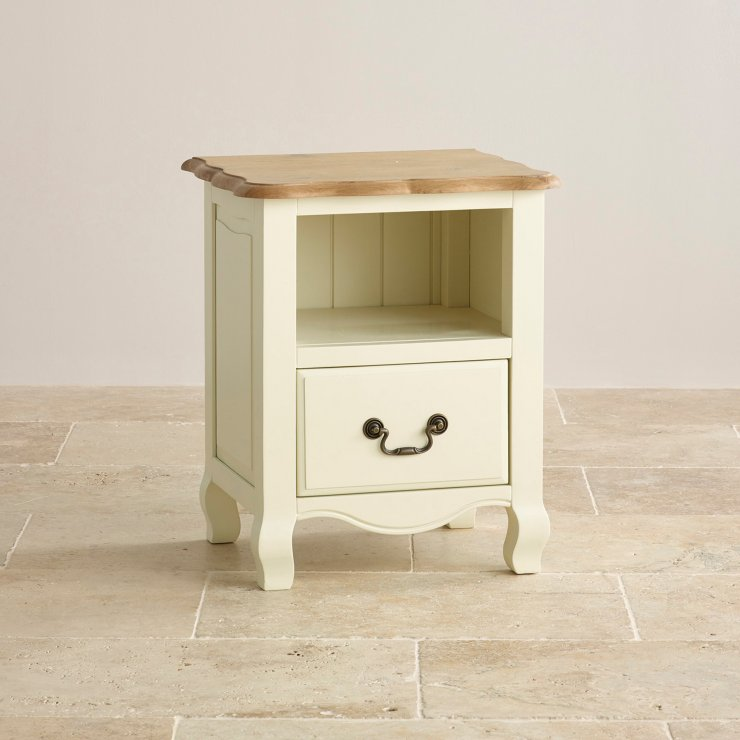 Bella Brushed Oak and Painted 1 Drawer Bedside Cabinet