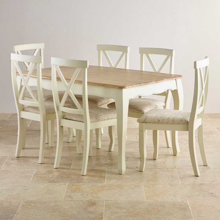 "Bella Brushed Oak and Painted 4ft 7"" Extending Dining Set with 6 Bella Script Beige Chairs"