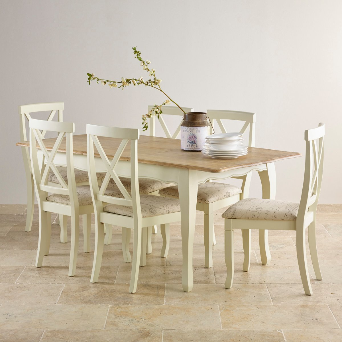 Edinburgh Extending Dining Set In Oak Dining Table 6 Chairs: Bella Painted Oak Extending Dining Table + 6 Script Beige