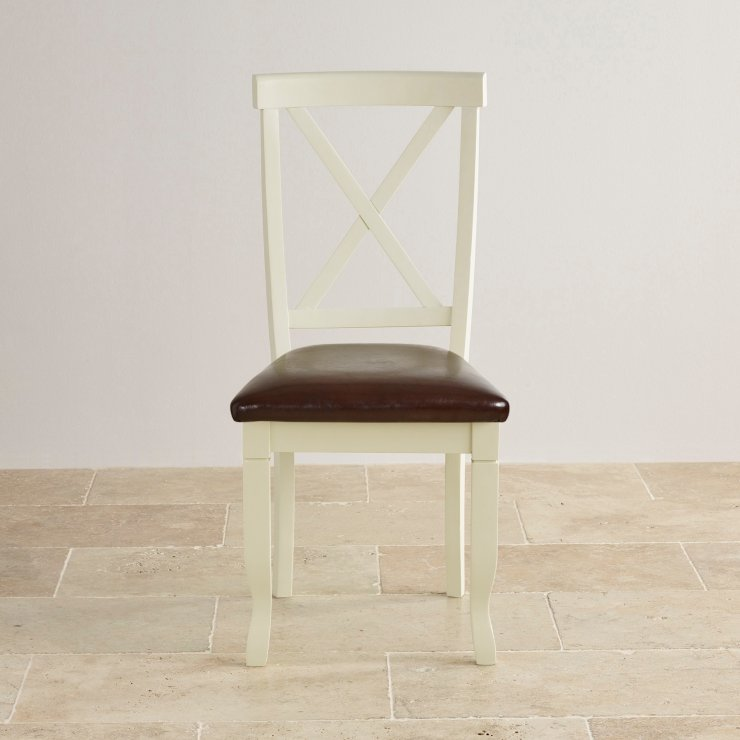Bella Brushed Oak and Painted and Brown Leather Dining Chair