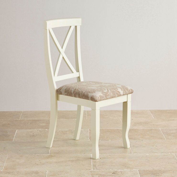 Bella Brushed Oak and Painted and Patterned Beige Fabric Dining Chair