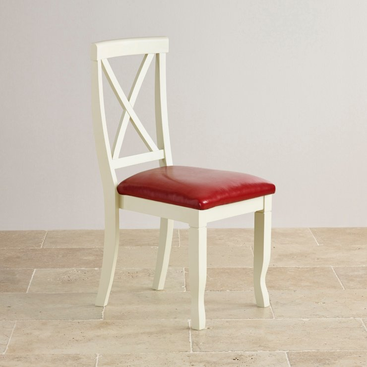 Bella Brushed Oak and Painted and Red Leather Dining Chair