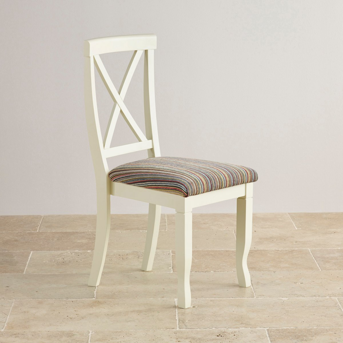 Bella dining chair in painted oak striped multi coloured for Multi coloured fabric dining chairs