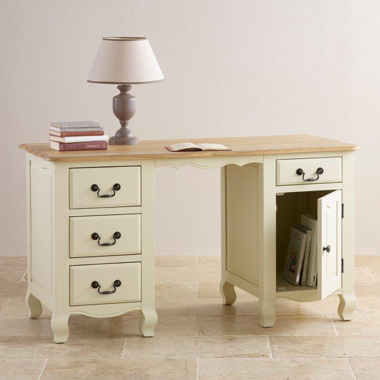 Bella Painted Computer Desk In Brushed Oak Oak Furniture