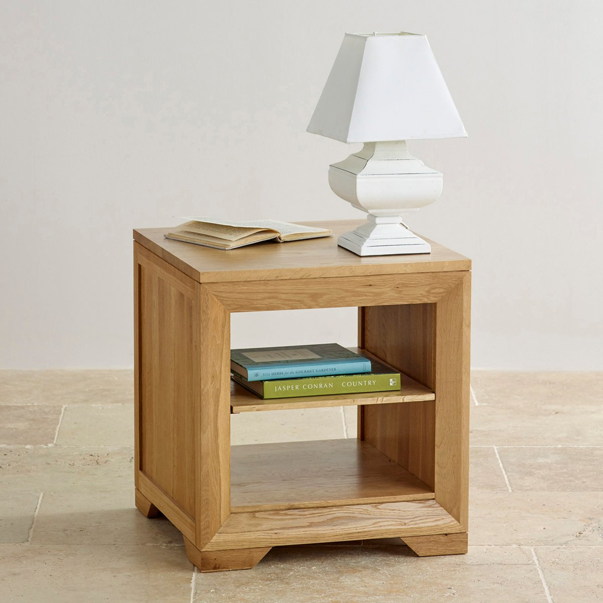 Bevel bedside table with shelf in natural solid oak for Bedside table shelf