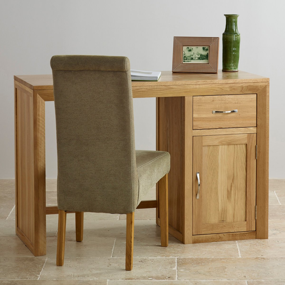 Bevel natural solid oak computer desk by oak furniture land for Oak furniture land