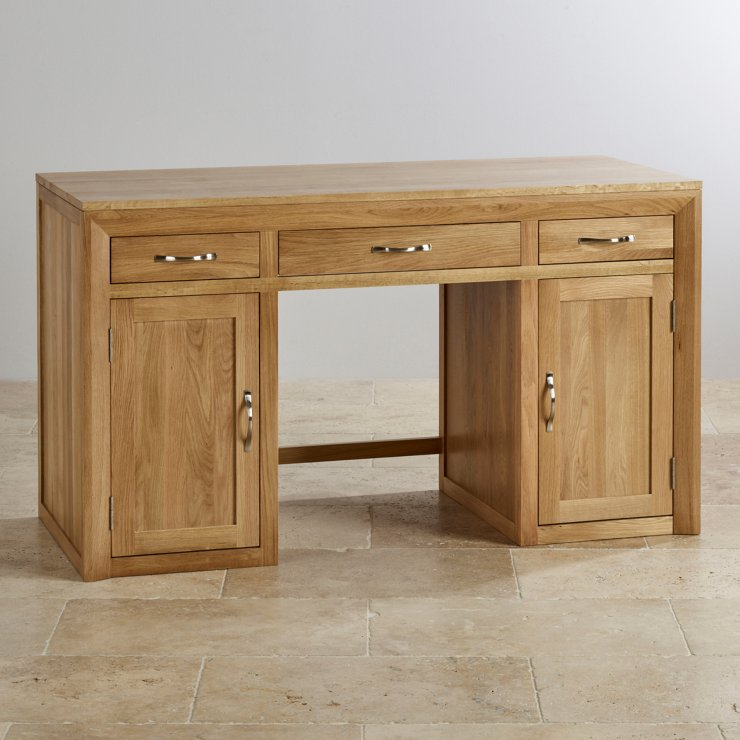 Bevel natural solid oak computer desk oak furniture land for Oak furniture land