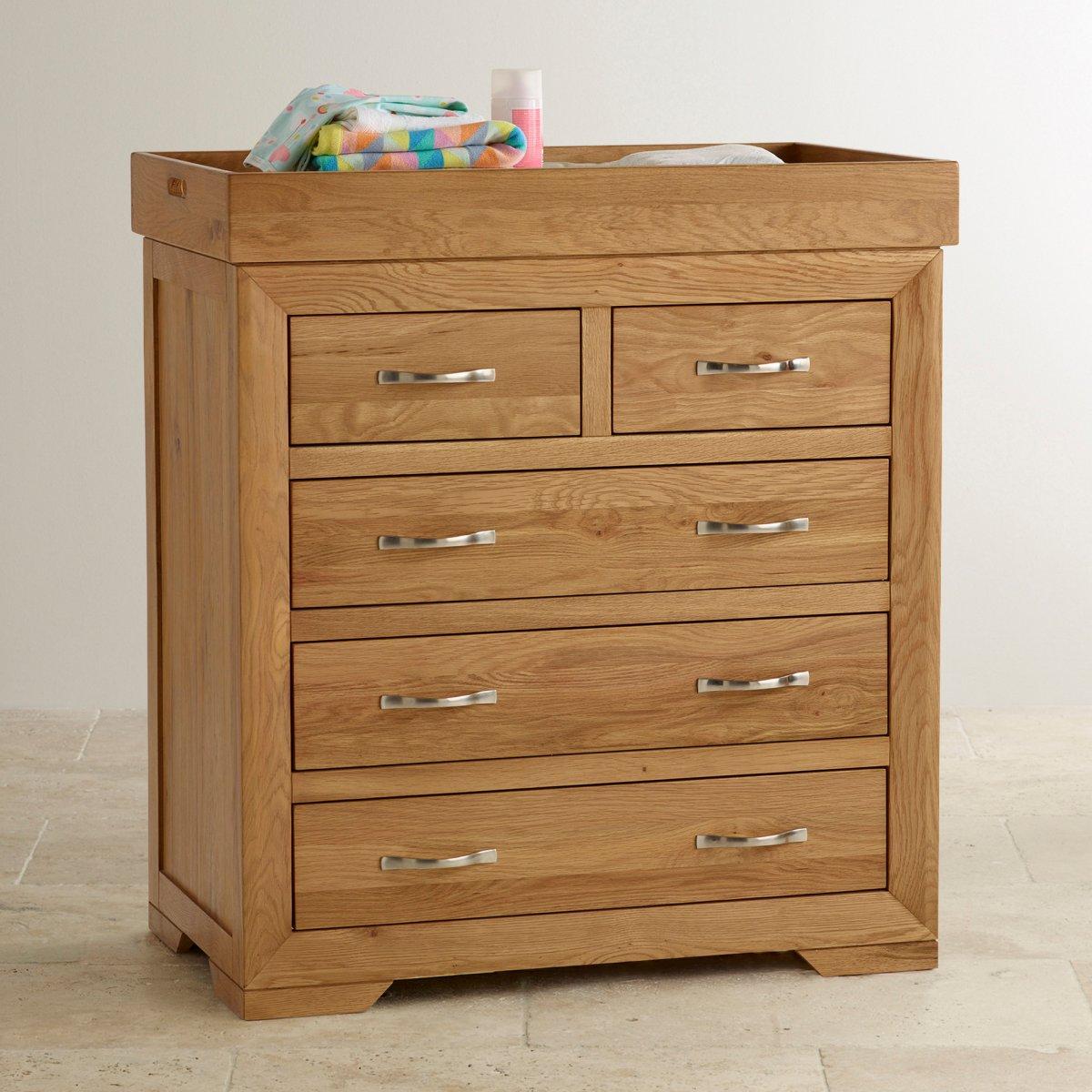 Bevel Natural Oak Baby Changer Dresser