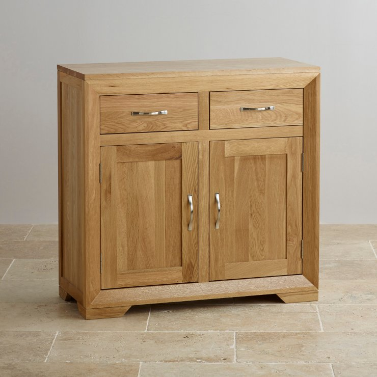 Bevel small sideboard in natural solid oak oak furniture for Solid oak furniture