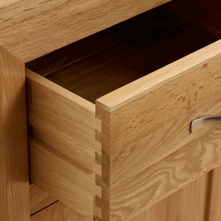 Bevel Natural Solid Oak Tall 5 Drawer Chest