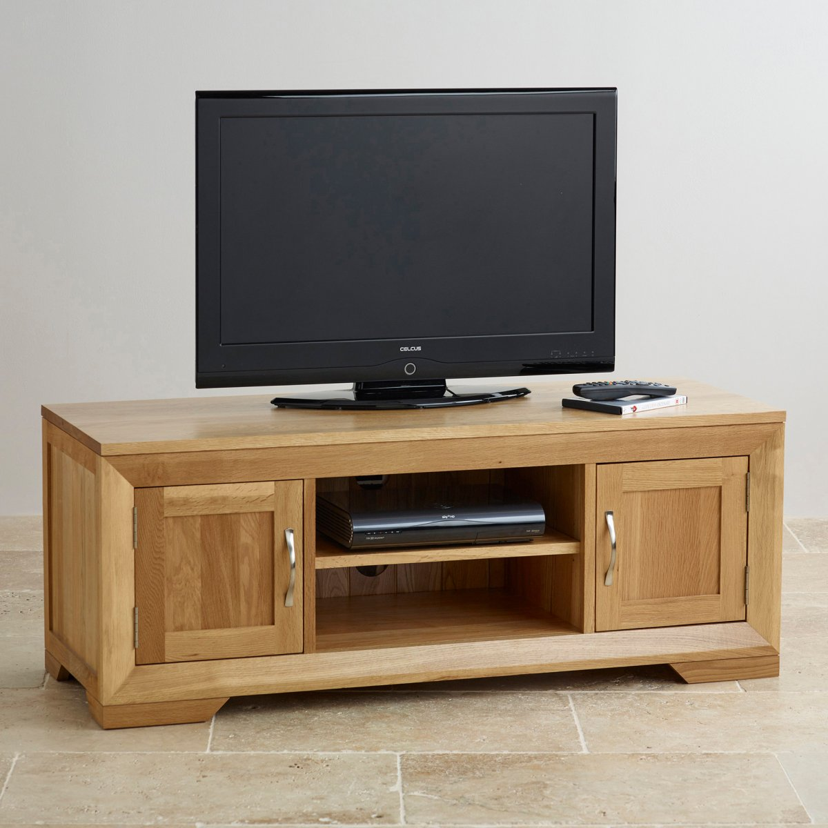 Bevel Natural Solid Oak Widescreen TV DVD Cabinet