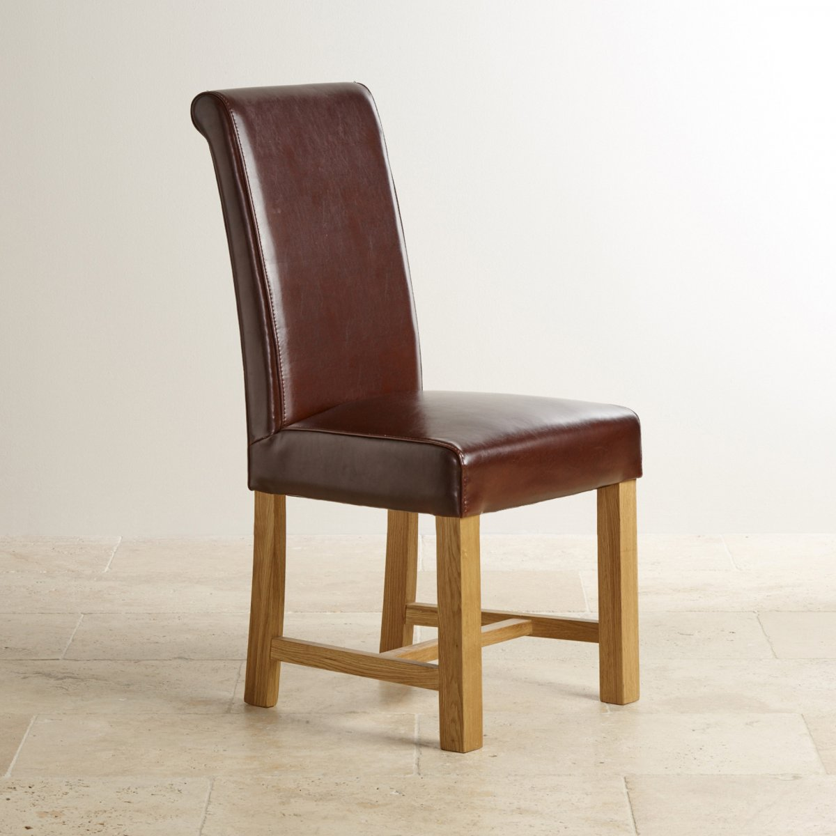 Brown leather dining chair with braced oak legs dining room for Brown leather dining room chairs
