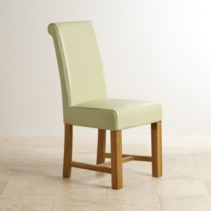 Braced Scroll Back Chair - Cream Leather with Solid Oak Legs