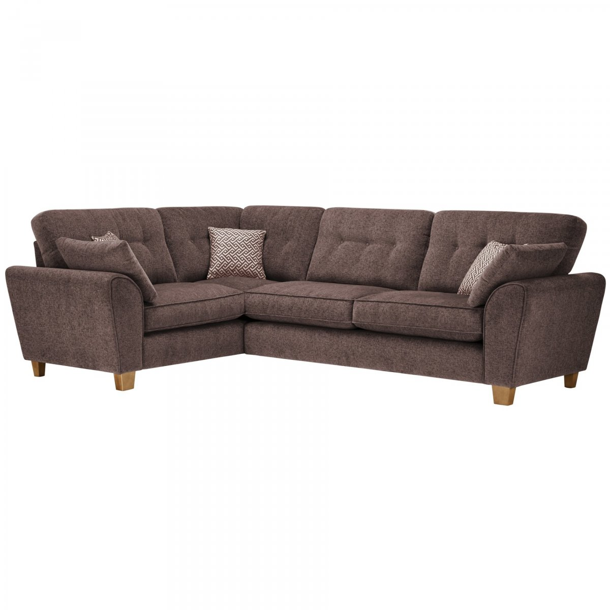 Corner Sofa Left And Right: Brooke Right Hand Corner Sofa In Brown + Brown Scatters