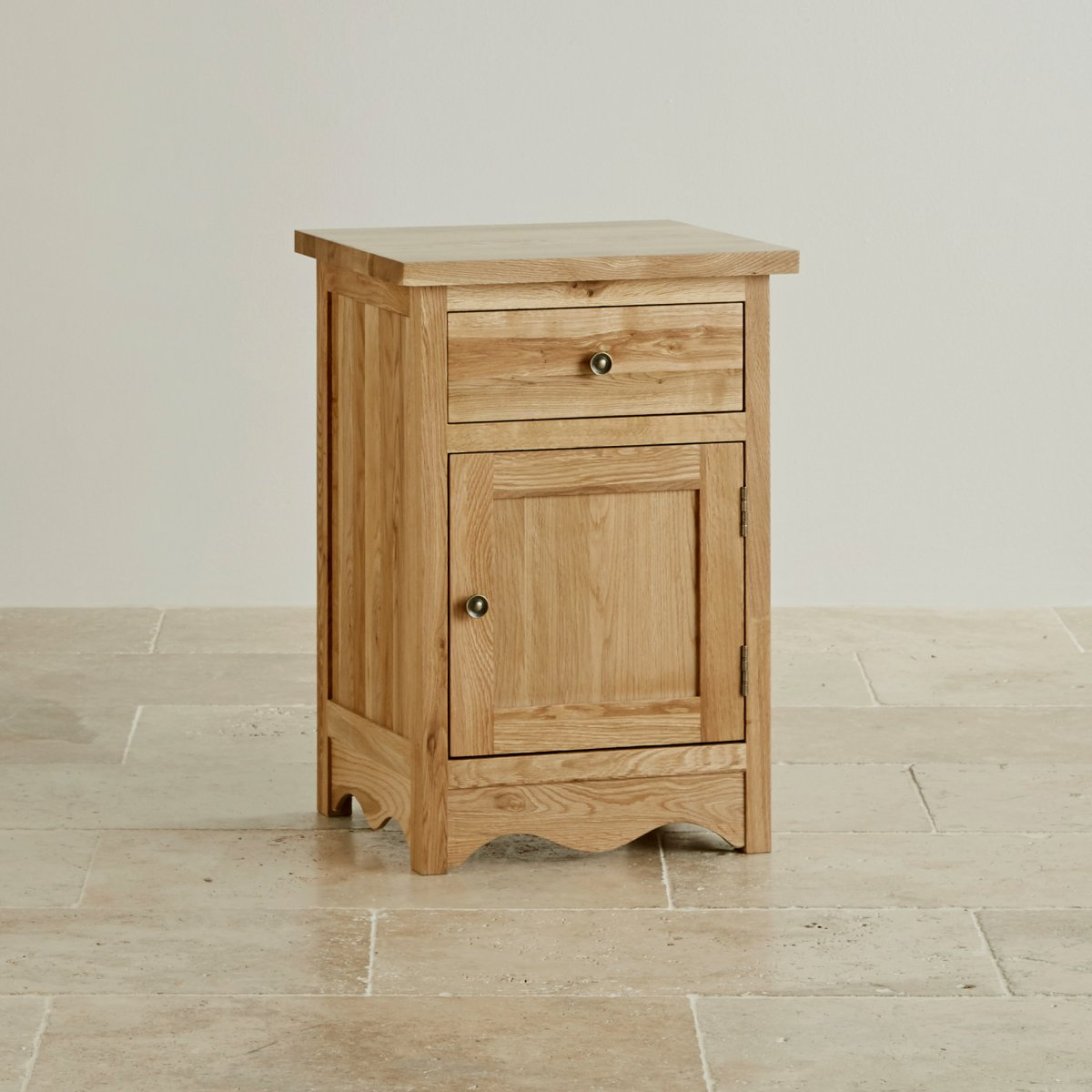 Cairo natural solid oak bedside cabinet for Very small bedside cabinets