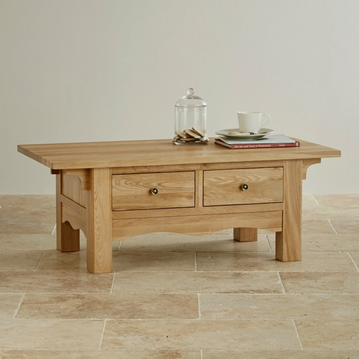 Cairo Natural Solid Oak 2 Drawer Coffee Table