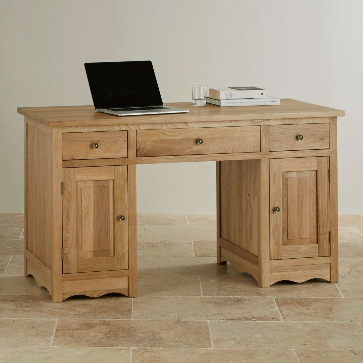 cairo natural solid oak computer desk