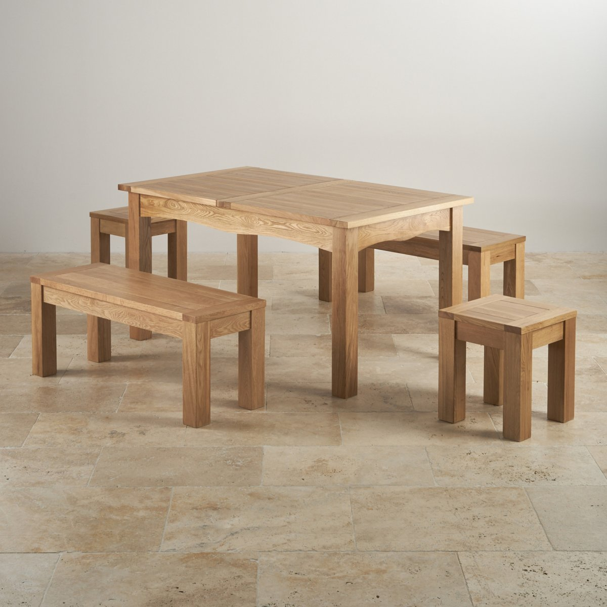 Kendal White Ash And Oak Dining Table Bench Set