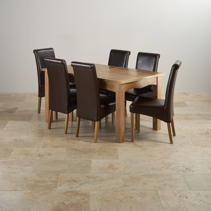 Cairo Natural Real Oak Dining Set - 5ft Extending Table with 6 Scroll Back Brown Leather Chairs