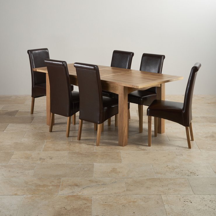 Edinburgh Extending Dining Set In Oak Dining Table 6 Chairs: Cairo Extending Dining Set In Oak: Table + 6 Leather Chairs