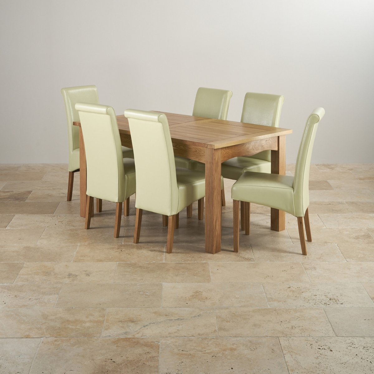 Cairo Solid Oak 5ft Dining Table With 6 Cream Chairs