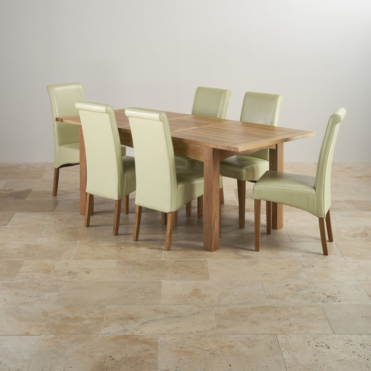 Cairo Natural Real Oak Dining Set - 5ft Extending Table with 6 Scroll Back Cream Leather Chairs