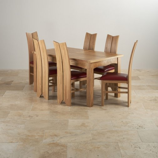 Cairo Extending Dining Set In Oak Table 6 Leather Chairs: Oak Furniture Land