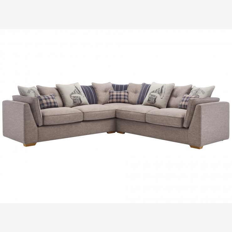 California 4 Seater Pillow Back Corner Sofa in Civic Smoke