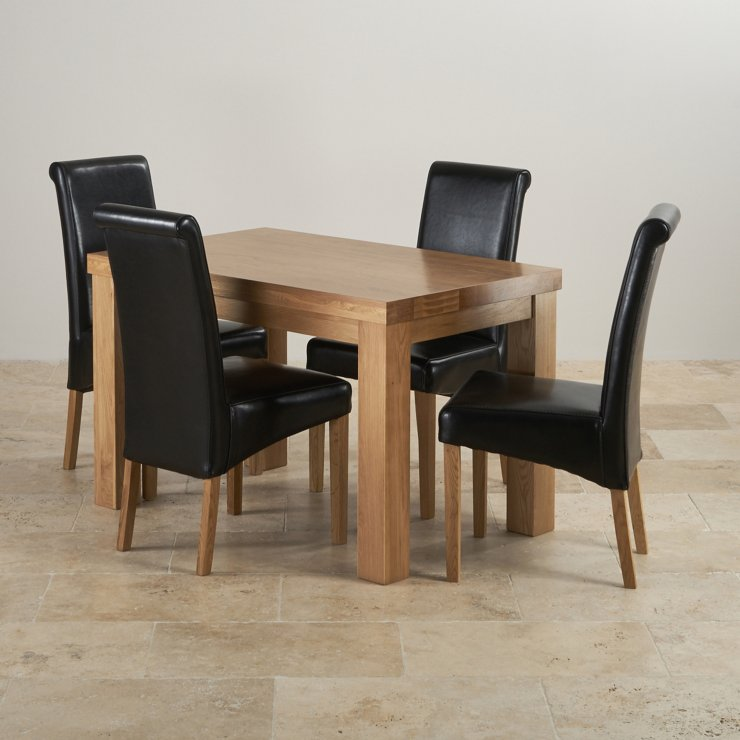 Chunky 4ft Solid Oak Dining Table 4 Black Leather Scroll Chairs