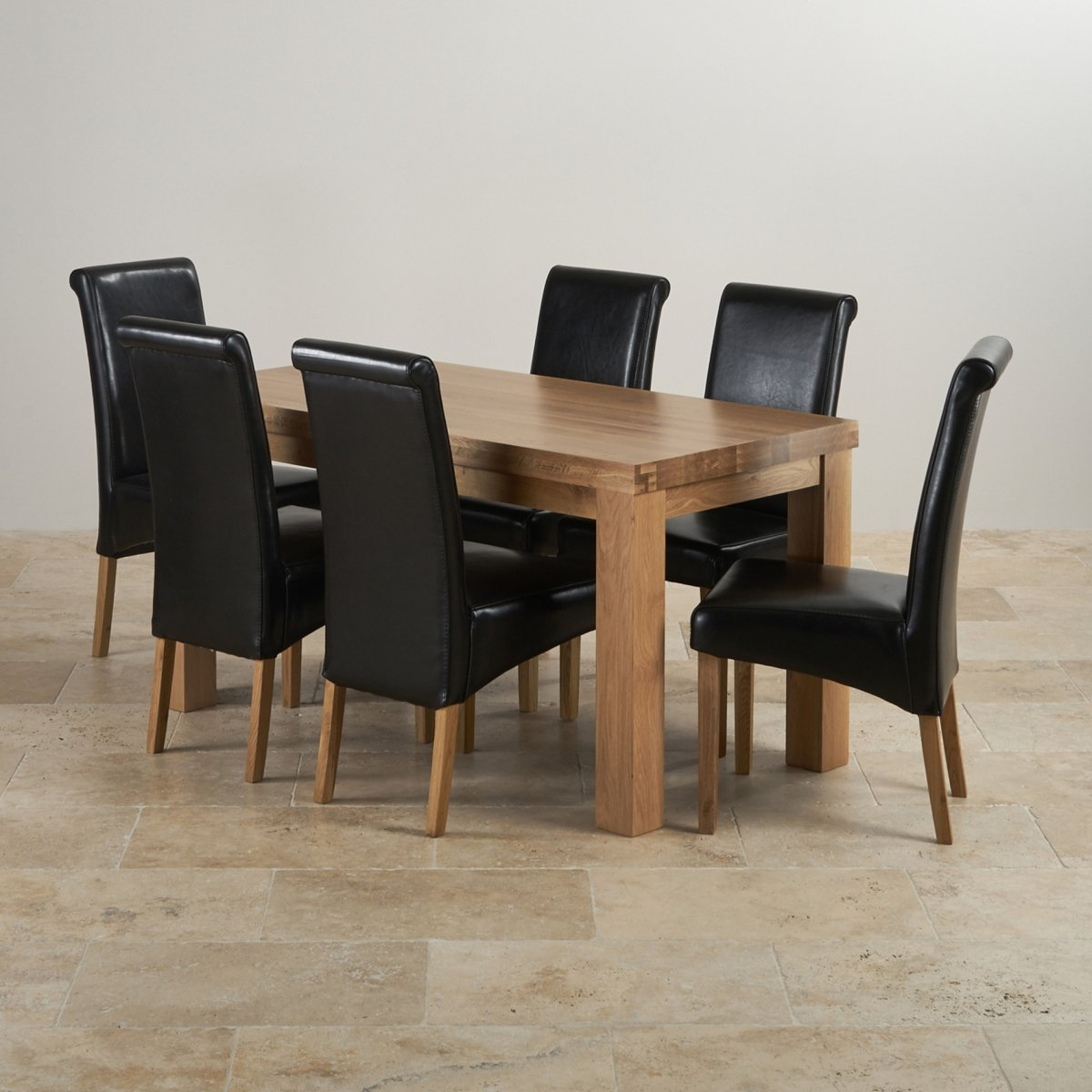 oak dining sets modern chunky 5ft oak table 6 black leather chairs