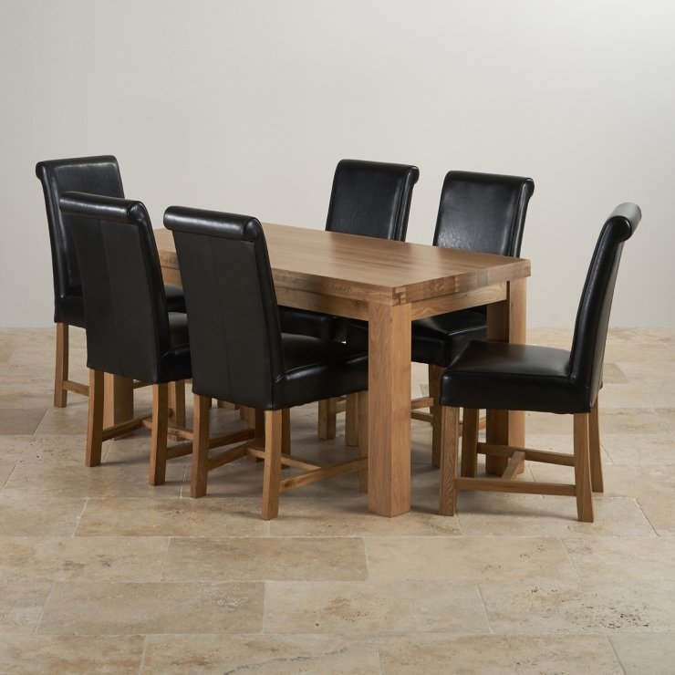"Chunky 5ft x 2ft 6"" Solid Oak Dining Table + 6 Braced Black Scroll Back Leather Chairs"