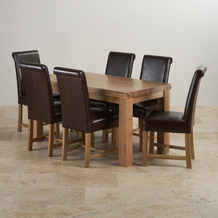 "Chunky 5ft x 2ft 6"" Real Oak Dining Table + 6 Braced Brown Scroll Back Leather Chairs"