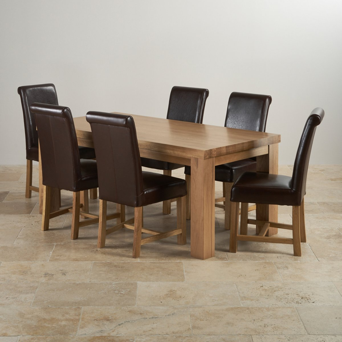 Oak 6ft X 3ft Dining Table Set Fresco Brown Leather Chairs
