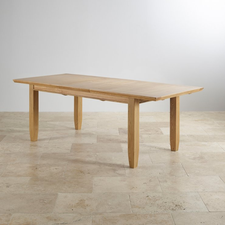 "Classic Natural Solid Oak 6ft x 3ft 3"" Extending Dining Table with 6 Plain Charcoal Fabric Chairs"