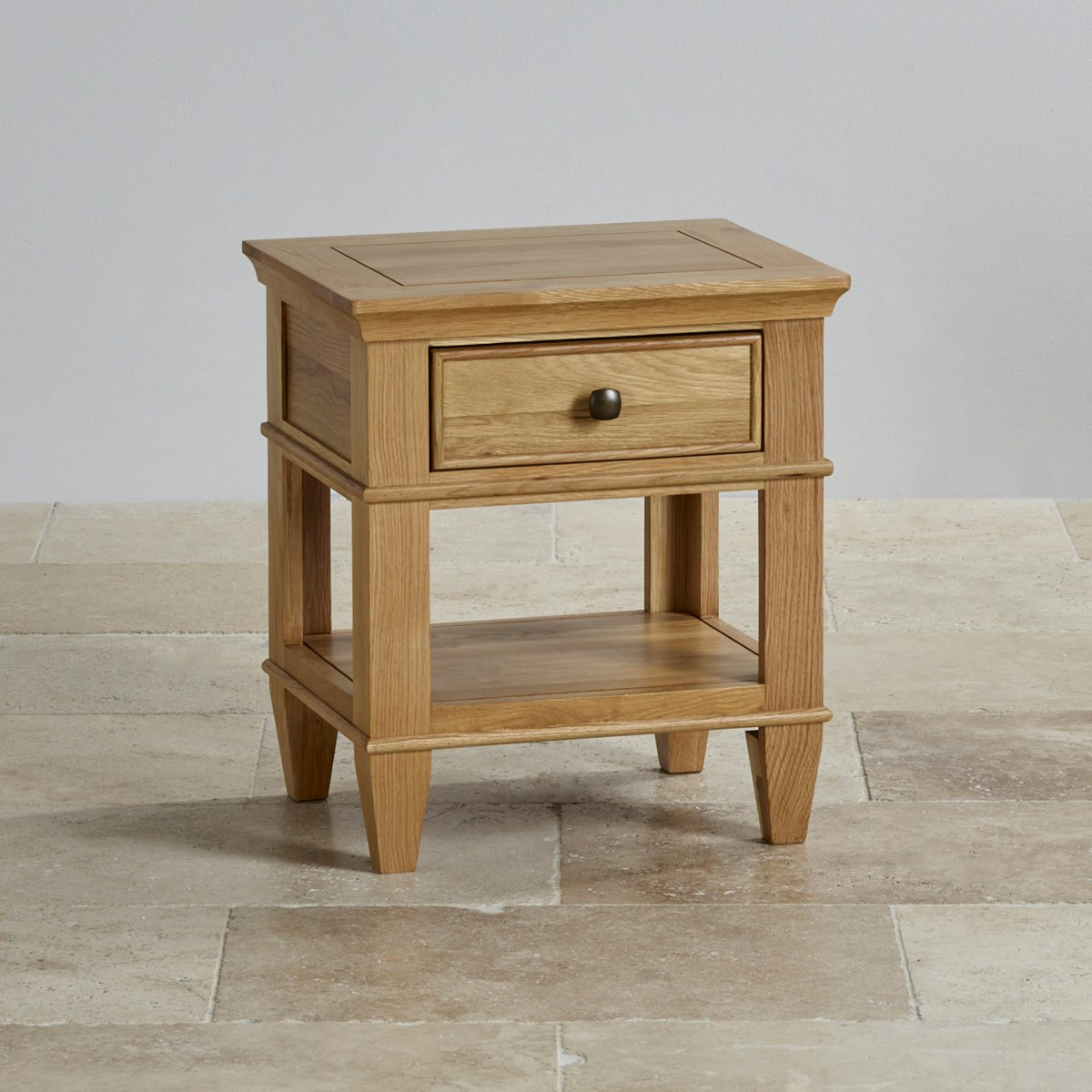 Classic 1 Drawer Bedside Table In Natural Solid Oak