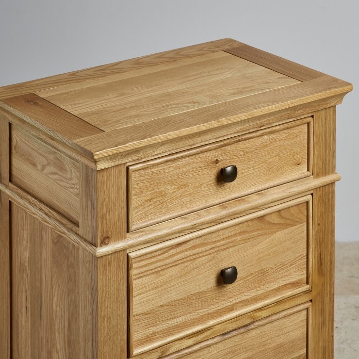 Classic Natural Solid Oak 5 Drawer Tallboy