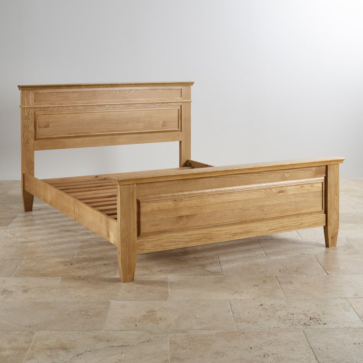 Classic King Size Bed In Natural Solid Oak Oak Furniture Land