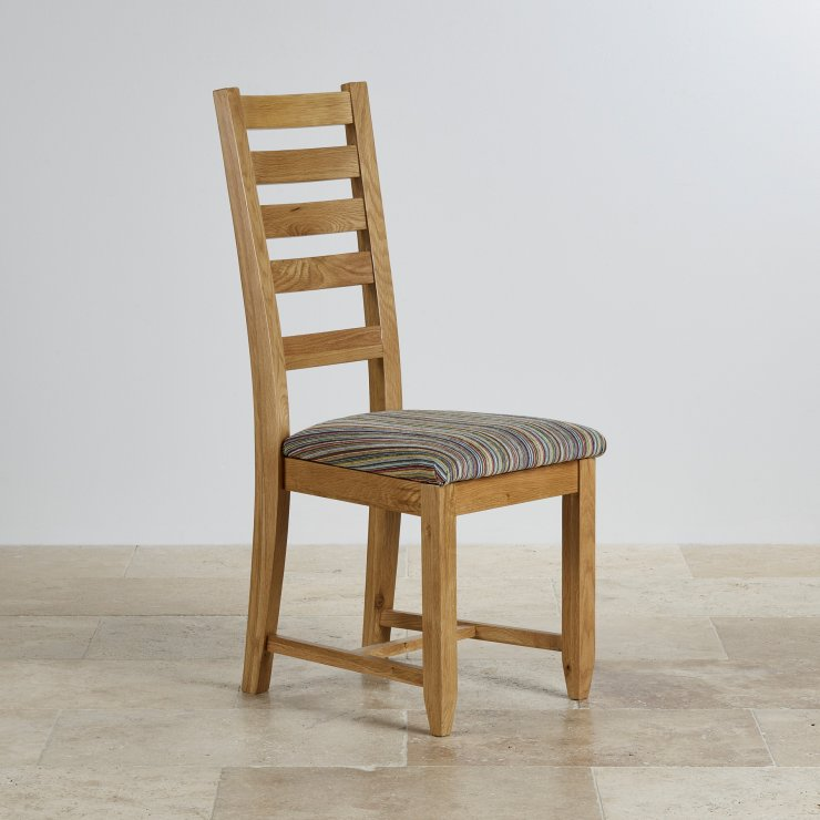 Classic dining chair in natural oak striped fabric for Multi coloured fabric dining chairs