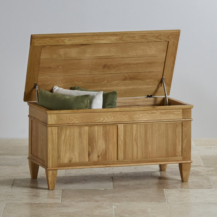 Classic Natural Solid Oak Blanket Box