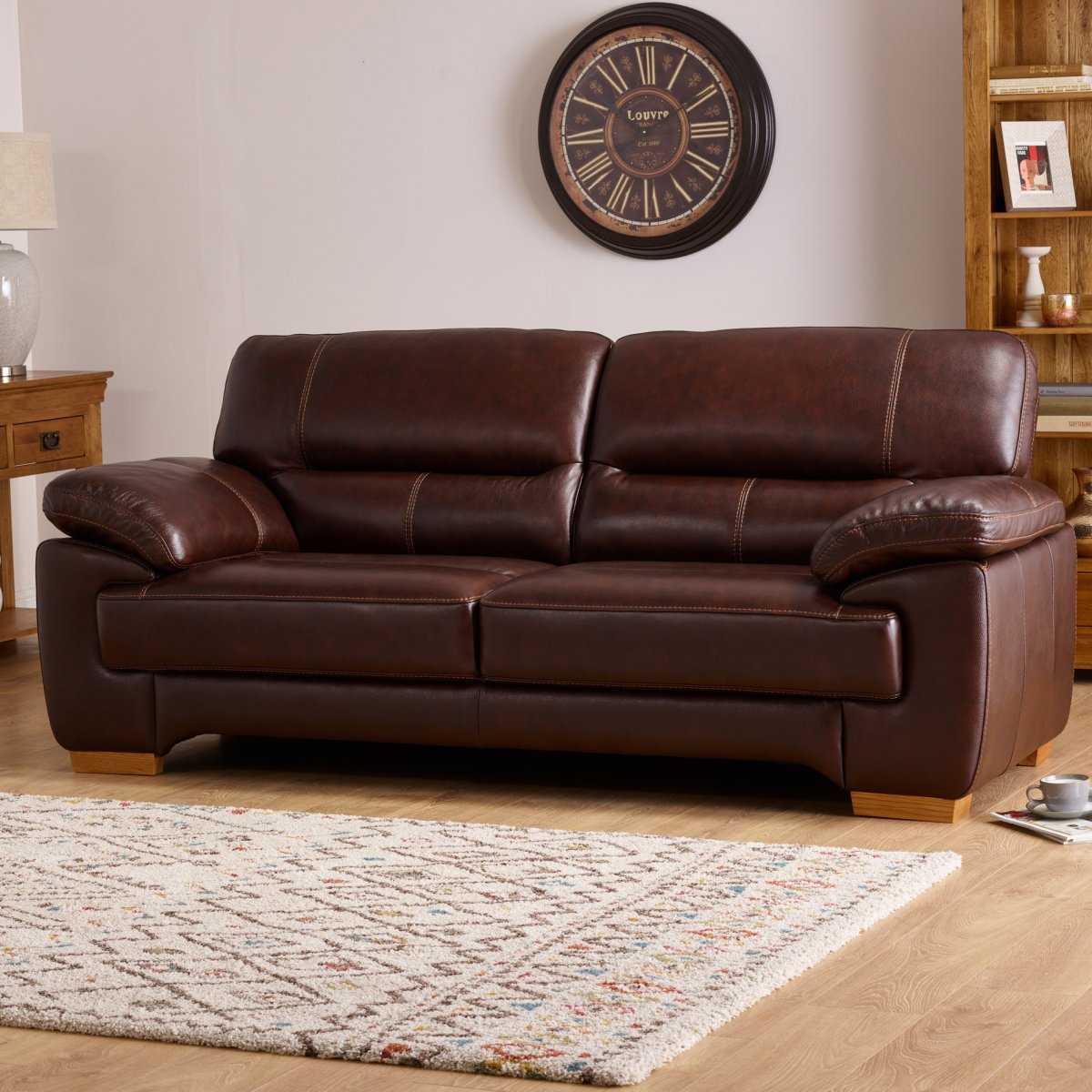 Clayton 2 Seater Sofa In Light Brown Leather Oak