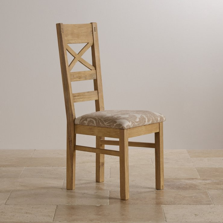 Coastal French-Washed Solid Oak and Patterned Beige Fabric Dining Chair