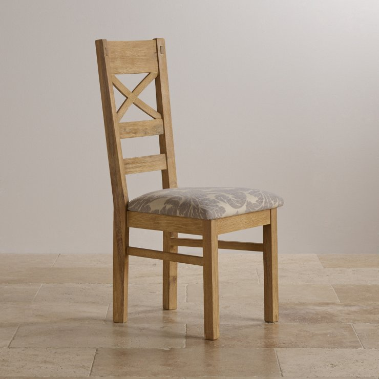 Coastal French-Washed Solid Oak and Patterned Grey Fabric Dining Chair