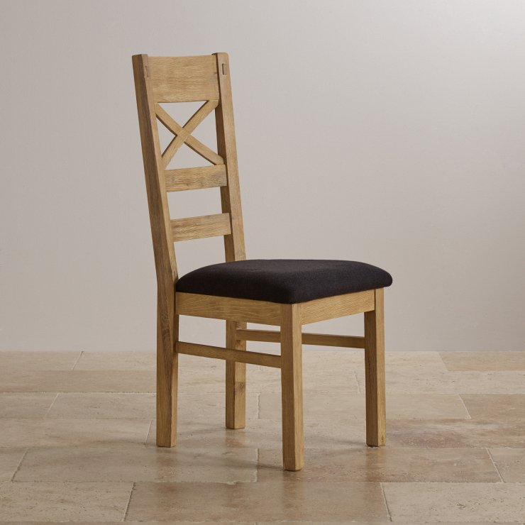 Coastal French-Washed Solid Oak and Plain Black Fabric Dining Chair