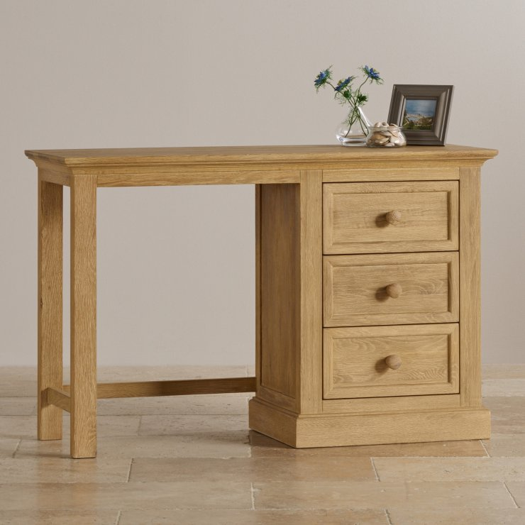 Coastal French-Washed Solid Oak Dressing Table
