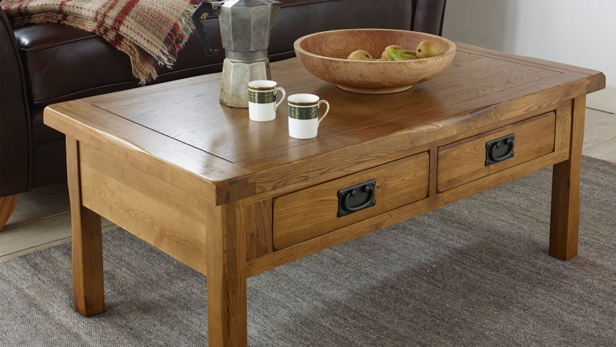 Diy rustic wood coffee table - Coffee Tables Living Room Furniture Oak Furniture Land
