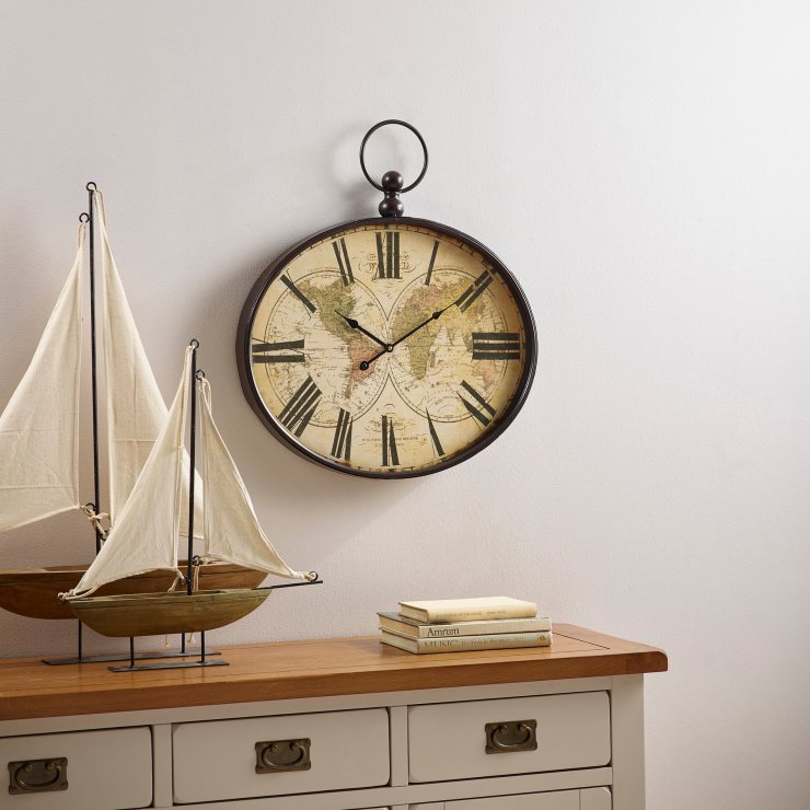 Columbus Wall Clock By Oak Furniture Land