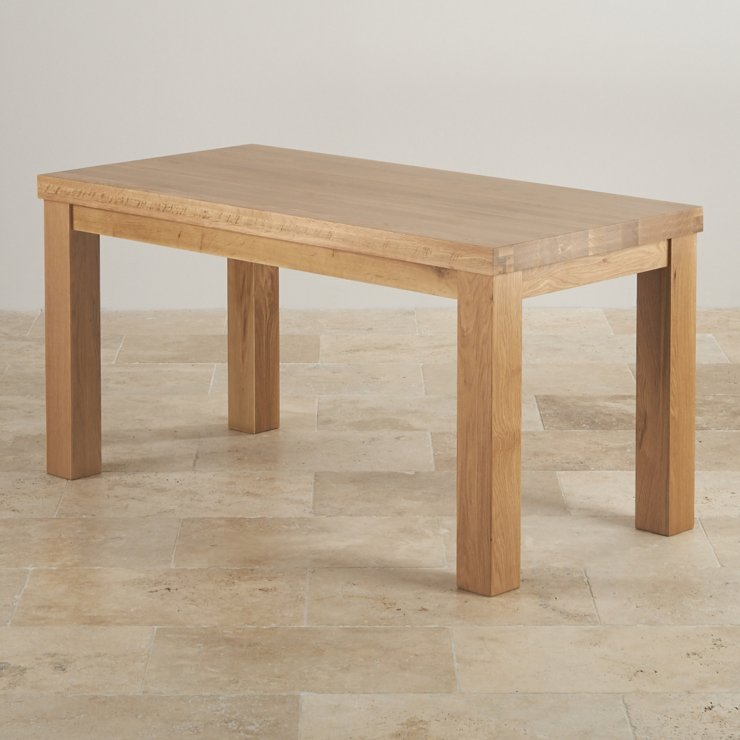 Contemporary chunky 5ft dining table in natural solid oak for Contemporary oak dining table