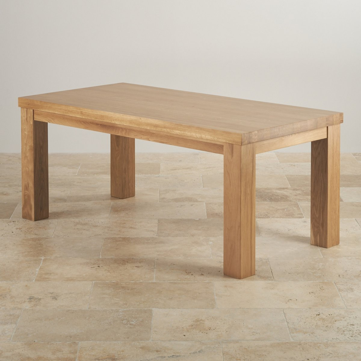 Contemporary chunky 6ft dining table in natural oak for Solid oak furniture