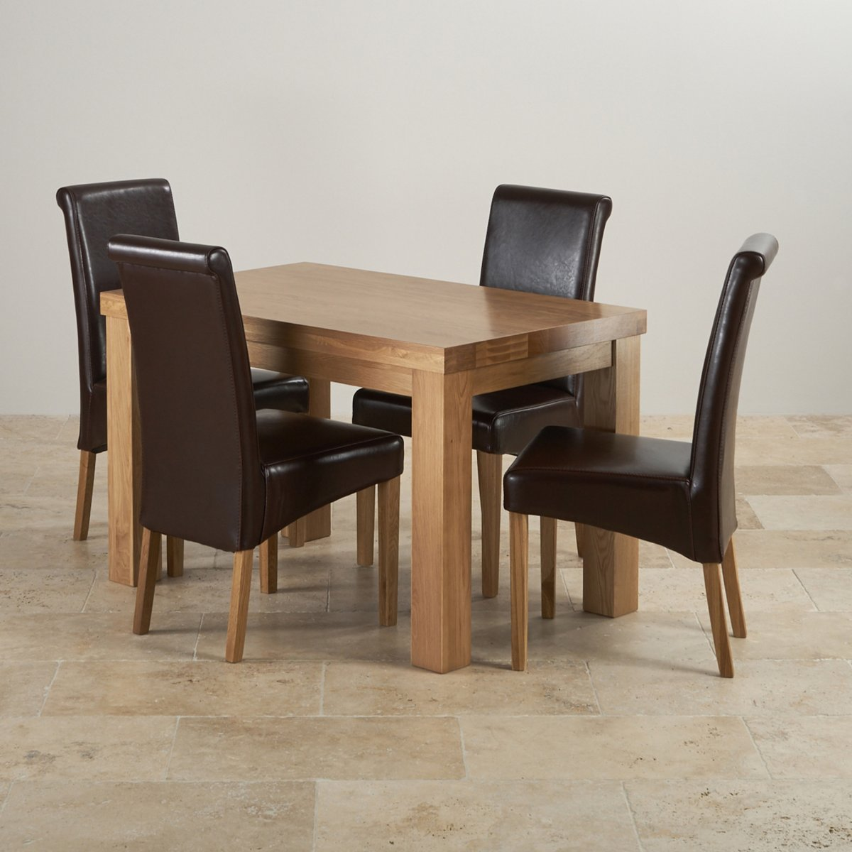 Solid Oak Dining Chairs ~ Chunky solid oak dining set in ft table chairs
