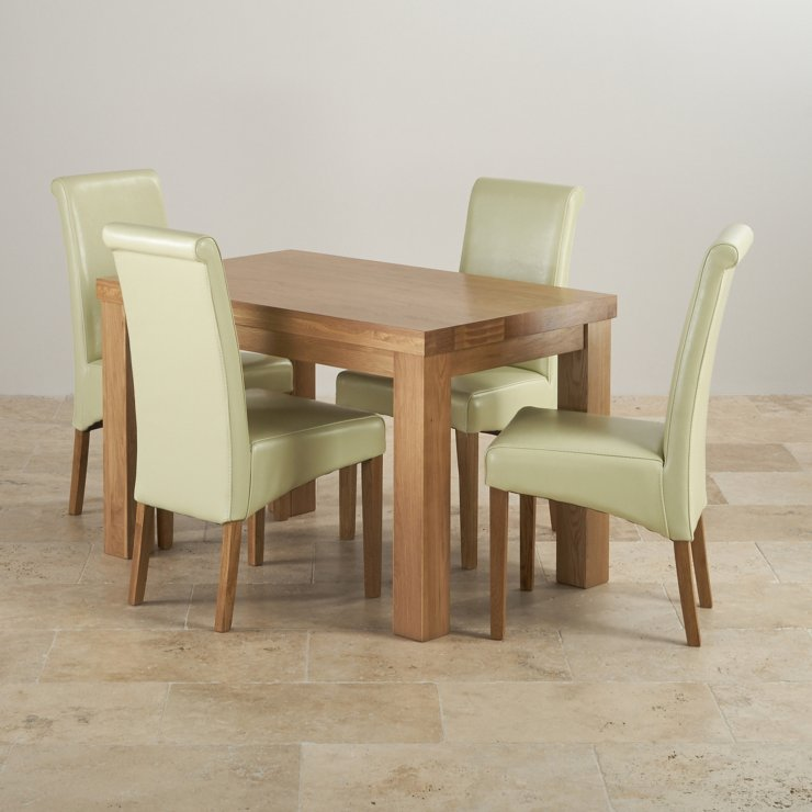 Chunky 4ft solid oak dining table 4 cream leather scroll for Contemporary oak dining chairs